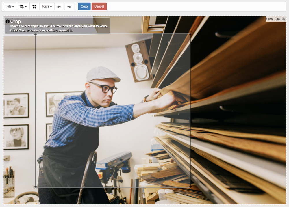 The height-to-width ratio here has been set at 1:1 when adjusting this Shopify image size. That means that you can choose any part of the image you want and it will always select a perfect square size for you.