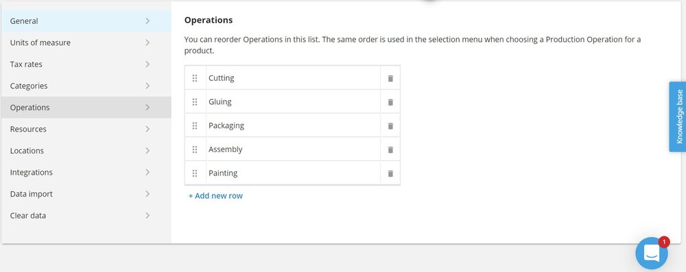 Define your operations in Katana at the settings screen.