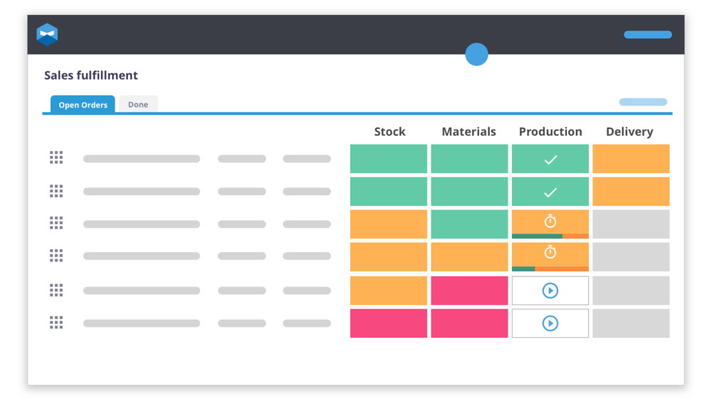 You're going to be looking at your Shopify ERP a whole lot more than any other program once it's implemented. That's why Katana has created a visual dashboard which suits the product-making business's eye so you can see which stage your sales orders are in at any given time.