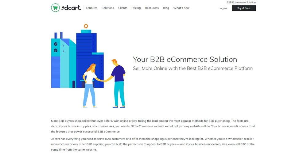 3dcart B2B eCommerce platform solution.