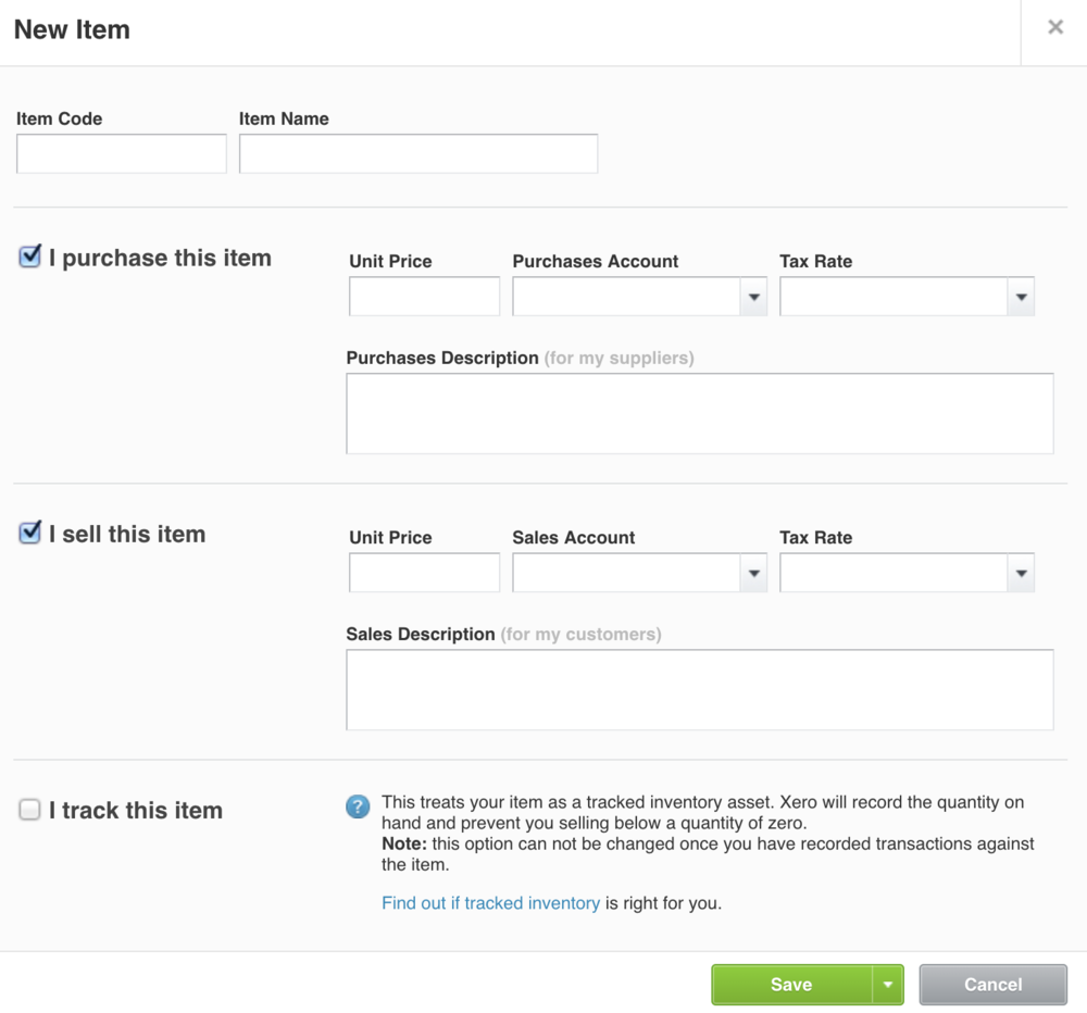 """You can make an item part of tracked inventory simply by ticking the """"I track this item"""" checkbox you see in the image above. That's how you can begin to use Xero inventory management."""
