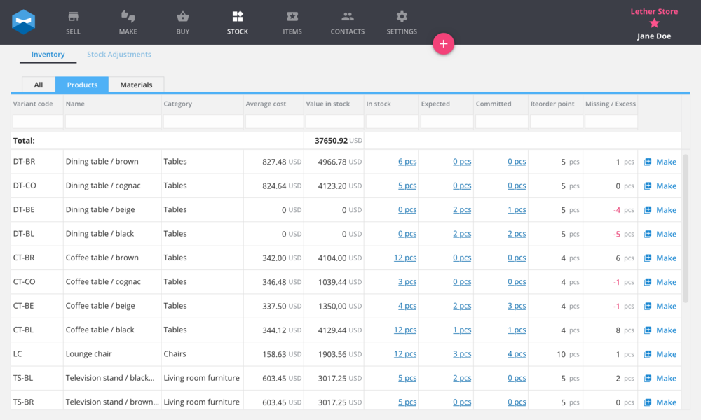 How stock inventory appears on a smart workshop software for businesses using a make to stock or make to order workflow.