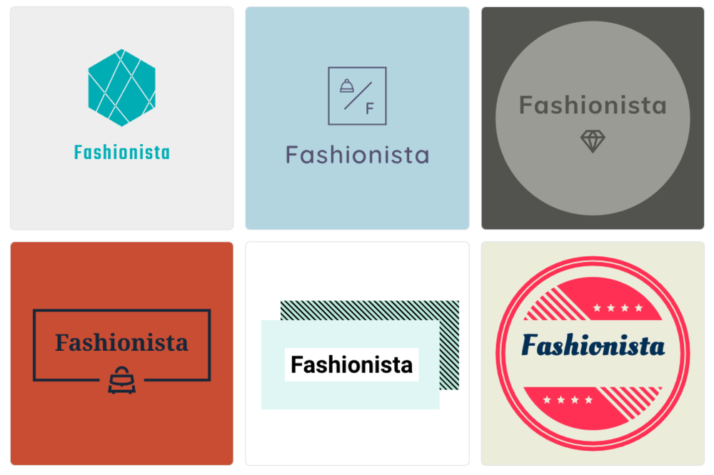 """We went for a creative, fashion brand logo for an online store called """"Fashionista"""" and this is what the Shopify tool gave us. Okay to be fair the name we came up with might not be so original but the logos certainly are!"""