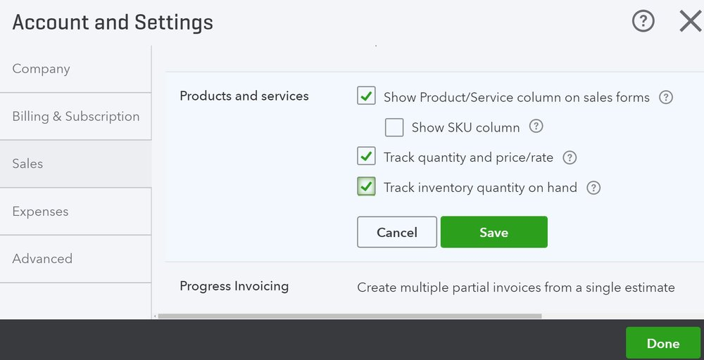 QuickBooks inventory management comes with the ability to track inventory. However, you need to make sure you're on the correct payment plan and have it enabled.