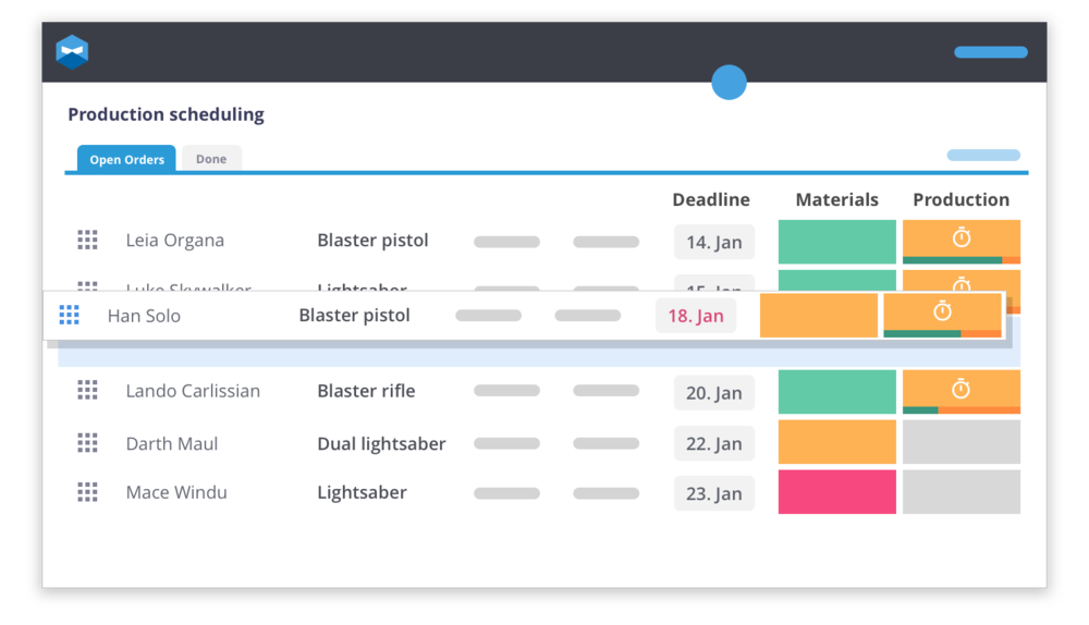 Drag and drop your manufacturing orders in Katana, to overcome your Shopify inventory issues of raw material availability.