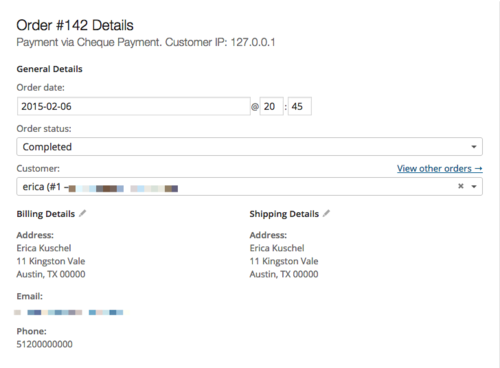 WooCommerce order management details allows you to edit the order status.