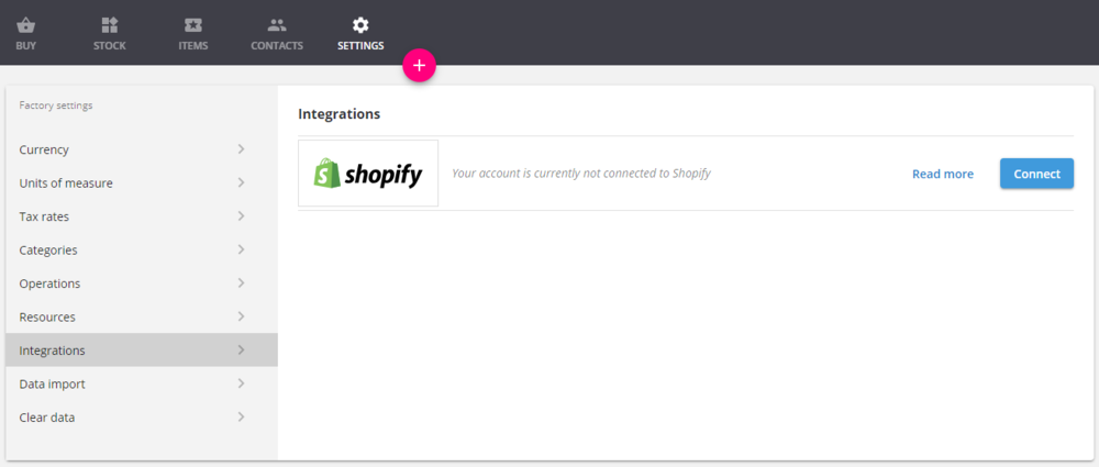 At the integration screen is where you'll need to set up your Shopify multiple storefronts individually.