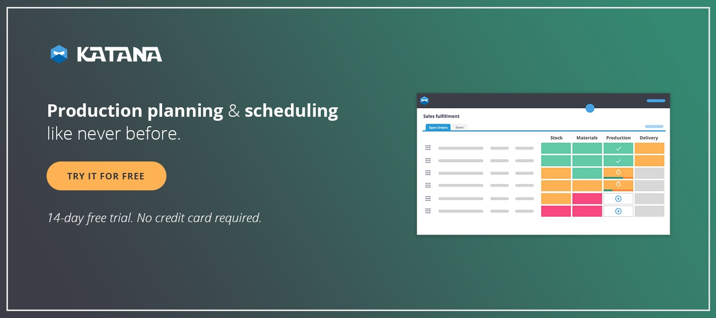 Master Production Schedule allows for production planning and scheduling like never before, with Katana MRP software.